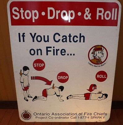Sparky The Fire Dog Fire Safety Large Metal sign - Unused - Ontario Canada