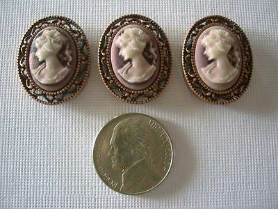 2 Hole Slider Beads Cameo Victorian Lady Coppertone #3