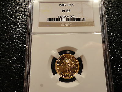 1903 Gold $2.50 Ngc Proof 62- Very Low Mintage- Scarce And Highly Collectible
