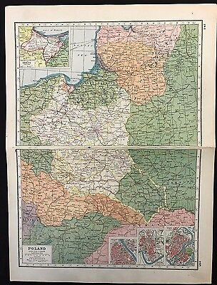 Vintage Map 1920, Poland, Insets of Danzig Warsaw Cracow  - Harmsworth's Atlas
