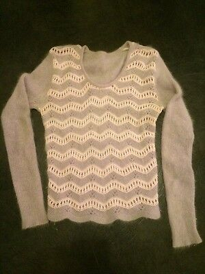 Vintage Retro 70's Mauve And Pink Fluffy Knitted Jumper Small.