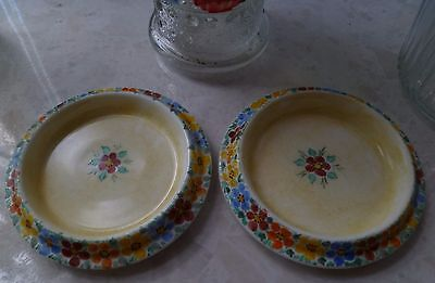 2 vintage floral chintz pin trays/dishes ~ signed MD ~ Glasgow Girl?