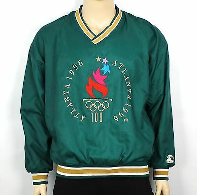 Vtg 1996 Atlanta Olympics Green Pullover Windbreaker Jacket Usa Starter Xl Sw160