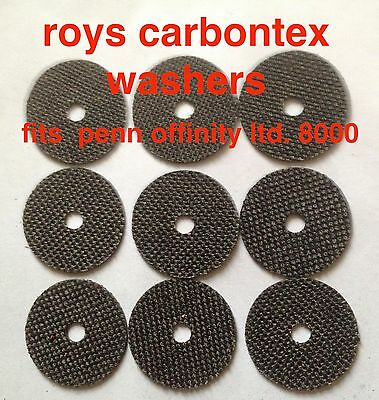 3 sets roys carbontex washers to fit Penn offinity ltd edition 8000