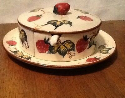 Vintage Fred Roberts Strawberry Divided Condiment Server With Lid and Spoons