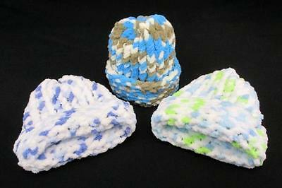 Lot of 3 Handmade Baby Boy Hats Crochet Blue White Multi-Colored Newborn-3m
