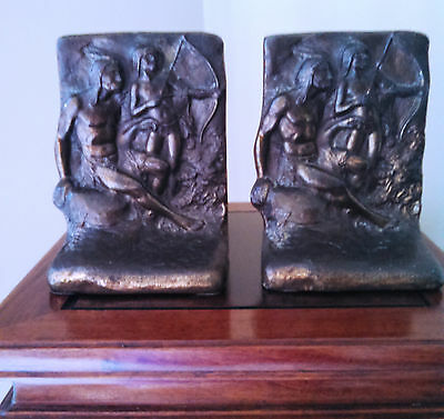 ANTIQUE Native American & Young Brave Archer* Early 1900s* Solid Bronze Bookends