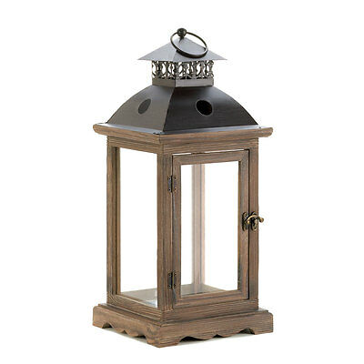 "Large Monticello Candle Lantern - 18 1/2"" High - Wood,  Glass & Metal"