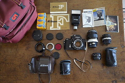 Nikon F Photomic Tn + 4 Obiettivo Custodia Vintage Camera Nikkor Black Body Set