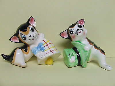 Vintage Playful  Kitty Cats w/Hat & Bell Toys Salt & Pepper Shakers (Japan)