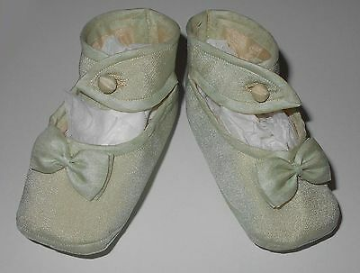 Antique Vintage Pale Jade Green Silk Ankle Strap Baby or Doll Shoes from Japan