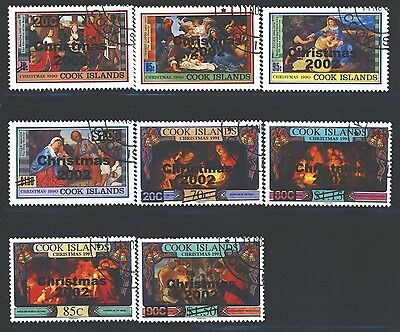 COOK ISLANDS Sc1251-58 SG1455-62 Used 2002 Christmas set of 8 SCV$11