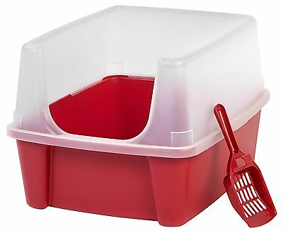 IRIS Open Top Cat Litter Box Kit with Shield and Scoop Red NEW