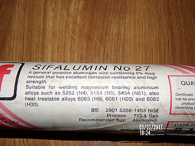 TIG  ALUMINIUM WELDING RODS SIF BRAND SIFALUMIN No.27 5% MAGNESIUM FOR SALTWATER