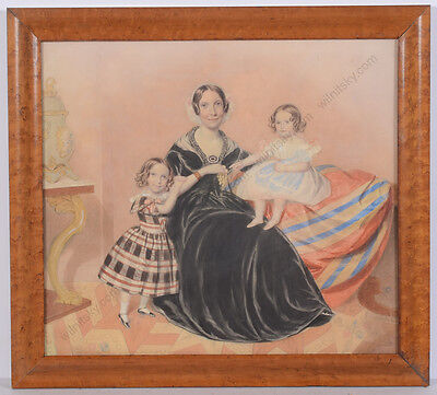 "American (British?) School ""Family Group Portrait"", Watercolor, 1840s"