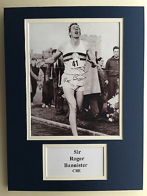 "Athletics Roger Bannister Signed 16"" X 12"" Double Mounted Display"