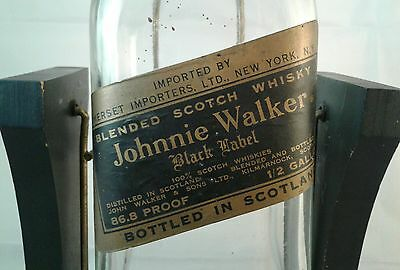 Vintage Johnnie Walker Black Label Half Gallon Large Bottle Wood Swing Cradle
