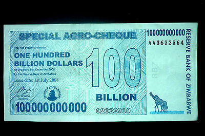 ZIMBABWE 100 BILLION DOLLARS BANKNOTE (AGRO - CHEQUE) ~ BIDS FROM ONLY 99p