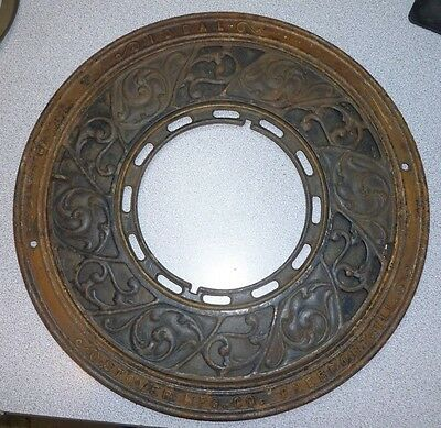 Antique Stover MFG. Co. Freeport  Ideal Cast Iron Wall Plate Stove Cover 15 3/8""