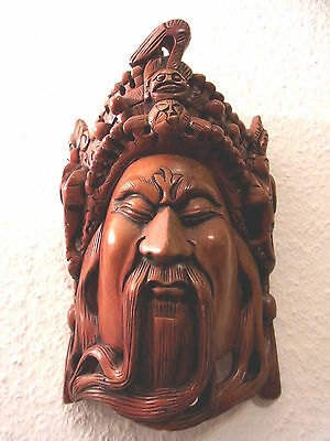 Alte Wandmaske China handgeschnitzt Holz / old chinese wooden wall mask carved