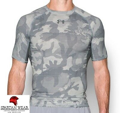 "Under Armour Compression Shirt ""ARMOUR Heatgear Printed"" - Gray Camo - Shortslee"