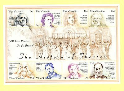 Gambia, souvenir sheet, authors, Shakespeare, Goethe, Moliere, Ibsen, Shaw, etc