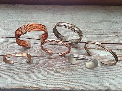Lot Of 6 Vintage Bracelets (Cuffs) Copper/brass