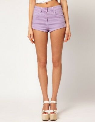 Ladies Size 10 12 14 New Lilac Stretch Denim Shorts Hotpants Girls *LICK*
