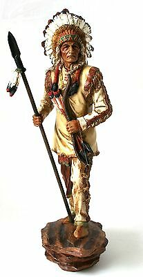 Southwestern Native American Indian Warrior Chief Weapons Headdress figurine