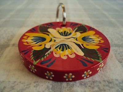 Red Wooden Round Key Ring, Narrow Boat, Barge Ware,Folk Style, Canal Art,