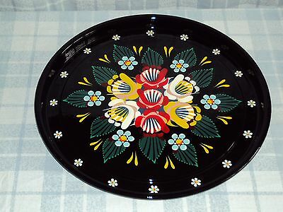 Black Round Metal Tray, Narrow Boat, Barge Ware, Canal Art, Folk Style