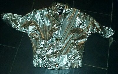1980s silver batwing shiny jacket sensatiobal item bnwt uk 12/14