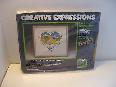 Erica Wilson Creative Expression Crewel Embroidery Kit Home is Where the Heart i
