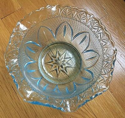 Vintage Light Blue Glass Serving Bowl Sunflower Fluted Edge 8""