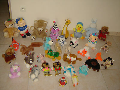 Peluches Animaux Lot De 34 Peluches Varies Modeles Animaux Ensemble Propre