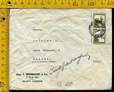 Cover busta Q 659 Palestine to Italy