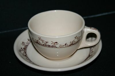 Restaurant Ware - Buffalo China Cup and Saucer Curtis pattern Brown Multiples