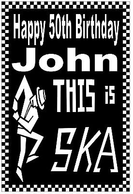 SKA / MODS - 50th HAPPY BIRTHDAY PERSONALISED CARD (AGE / NAME) - GLOSS FINISH