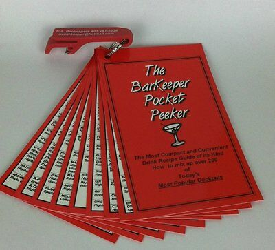 The BarKeeper Pocket Peeker - Cocktail Drink Recipe Guide for Bartenders