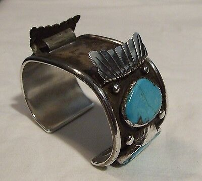 Large Navajo Old Pawn Silver and Turquoise Watch Cuff Bracelet