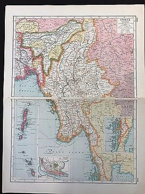 Vintage Map 1920, India, Burma, Inset of Rangoon, Section 4 - Harmsworth's Atlas
