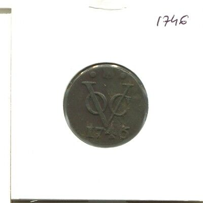 1746 Utrecht Voc Duit Netherlands Indies New York Colonial Penny E16642.7