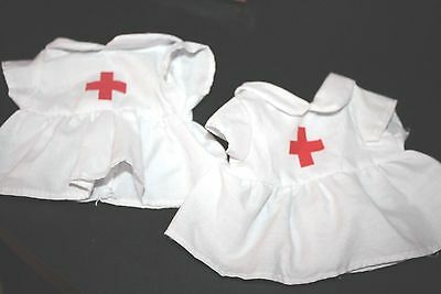 "Nurse Doll Clothes Lot Two Dresses w/ Red Cross 5"" Wide x 5.5"" Long   -L"