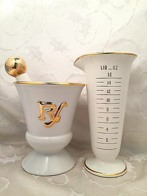 Vintage Rx Beaker Mortar And Pestle Set Lot Of 2 Owens Illinois Gold Trim