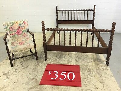 Jenny Lind bed frame and similarly styled accent chair