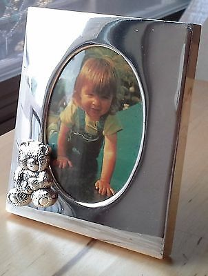 Silver Picture Frame with Bear, 3 1/2 X 3 inches.