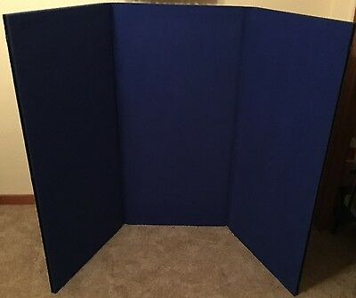 3 Blue Panel Folding Trade Show Backdrop Booth Banner Exhibit Display Pre-owned