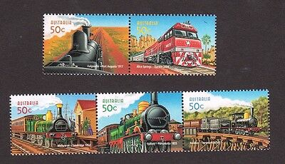 2004 Australian Stamps - 150th Anniversary of Railways - MNH Set of 5