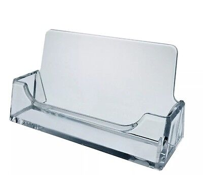 3 Clear Plastic Business Card Holder Display Stand Desk New
