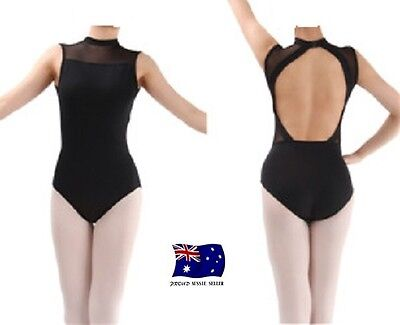 Black Women's Turtle Neck Low Back Leotard